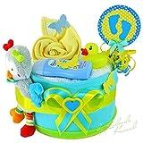 Windeltorte / Pamperstorte > Babygeschenk für Jungen in schönem Türkis-Gelbton // Geschenk zur Geburt, Taufe, Babyparty // originelles und praktisches Geschenk für Babys