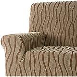 DECORACION NUEVO ESTILO- Funda de sofá AMBROZ en tejido elástico, tamaño Orejero color 85 Marron-Paja (varios colores y medidas)