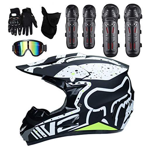 Alvyu Casco da Motocross per Adulto Uomo Donna off Road DOT Outdoor Full Face MX Dirt Bike Casco Moto ATV Occhiali Antivento gratuiti Maschere Guanti Gomitiere e Ginocchiere,L