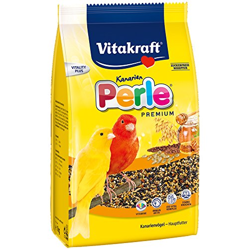 Vitakraft Hauptfutter für Kanarienvögel, Saatenmischung mit Getreide, Zuckerfeie Rezeptur, Kanarien Perle, Premium Menü, 21448, 3 kg