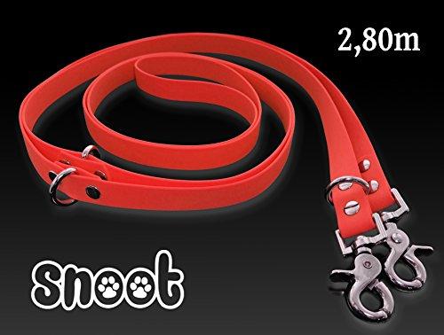 SNOOT Verstellbare Führleine und Doppelleine 2,8m | rot | zugfeste, schmutz- und wasserabweisende Hundeleine mit 2 Karabiner und 3 Ringösen | Doppel-Leine für zwei Hunde
