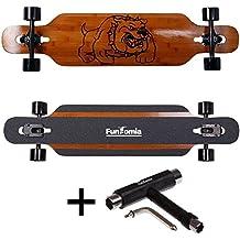 FunTomia® Drop Through Longboard monopatín bambú y fibra de vidrio - 99cm x 26cm - rodamientos Mach1