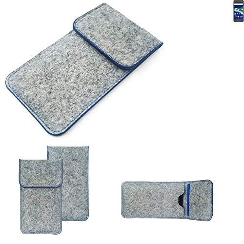 K-S-Trade® Filz Schutz Hülle Für -General Mobile GM 6- Schutzhülle Filztasche Pouch Tasche Case Sleeve Handyhülle Filzhülle Hellgrau, Blauer Rand
