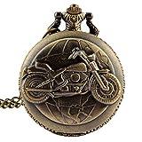 fenkoo Herren Taschenuhren Motorrad-Art-Legierung Analog Quarz Taschenuhr (Bronze)