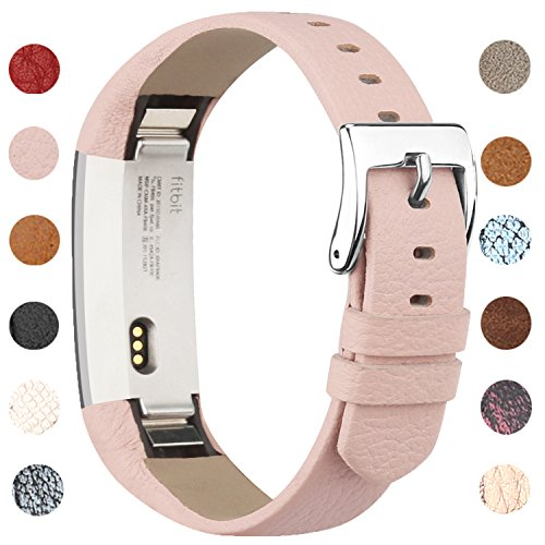 Vancle Lederarmband für Fitbit Alta und Fitbit Alta HR, Anpassbare Bequemen Fitbit Alta Ersatzarmbänder mit Edelstahl Schnalle (Kein Tracker) (Rosa)
