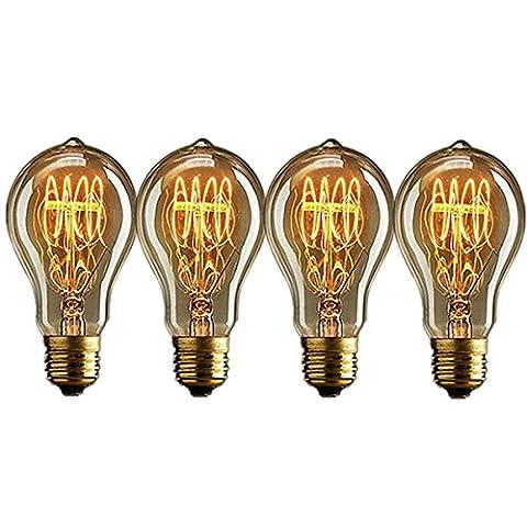 Licperron Edison Glühbirne E27 A60 Vintage Lampe 60 W 220 V Eichhörnchen Käfig Tungsten Filament Glas Antike Glühbirne, dimmbar, 4 Stück