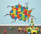Wandtattoo mit Lego-Steine-Motiv, groß und farbenfroh, Design mit Rissen, Wandaufkleber für Kinder, X Large 86cm x 127cm