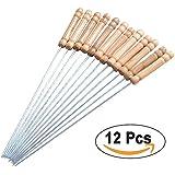 Brochettes de barbecue - bois inoxydable cordes poignée en acier - 30 cm torsadée bâton métallique Kabab et barbecue cuisson - Set 12