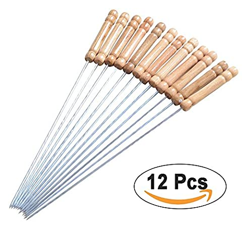 Brochettes de barbecue - bois inoxydable cordes poignée en acier - 30 cm torsadée bâton (Acciaio Inossidabile Lama Manico In Legno)