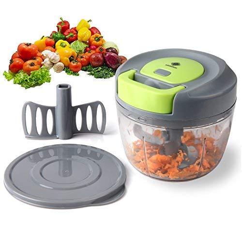 Kalokelvin Zwiebelschneider mit Seilzug Gemüseschneider Zerkleinerer Kueche Manuell Hacken/Schneiden/Mischen/Frischhalten(750ML) Onion Chopper