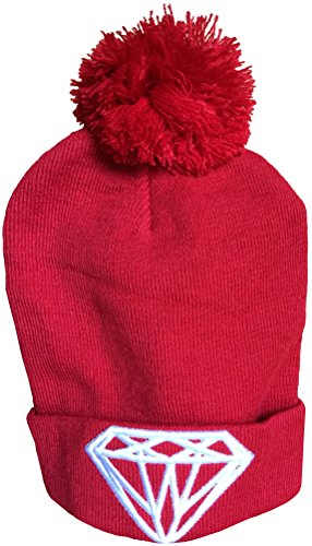 Official Diamond Supply Pom Beanie Hat. One size fits all. (Red).