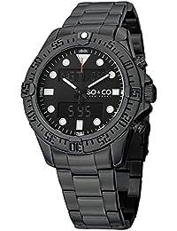 So y Co Club de Nueva York para hombre de yates reloj infantil de cuarzo con esfera negra analógico - pantalla Digital y negro correa de acero inoxidable de 5017,3