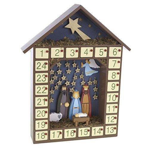 Adventskalender aus Holz mit Krippe und Sterne. Hand Made
