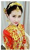 Handgefertigt Golden Chinesischer Drache und Phoenix Cheongsam Kostüme Retro Kristalle Florals Schmetterling Hochzeit Kopfschmuck Ornaments Haarnadeln