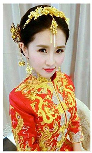 Handgefertigt Golden Chinesischer Drache und Phoenix Cheongsam Kostüme Retro Kristalle Florals Schmetterling Hochzeit Kopfschmuck Ornaments (Chinesisches Kostüme)
