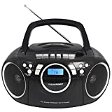 Blaupunkt BB16 Boombox Tragbarer CD-Player mit Kassettenplayer Radio AUX (Schwarz)