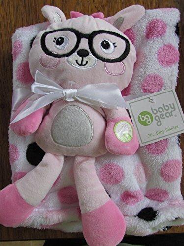 Baby Gear 2pc Mädchen Baby Decke SOFT PLÜSCH Kitty Squeaky Pink Polka Dots