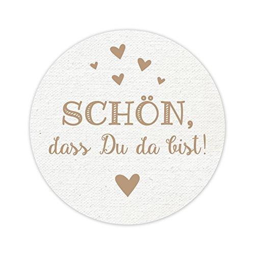 100 runde Aufkleber - Schön, dass Du da bist! - 5 cm Durchmesser - Vintage Optik mit kleinen Herzen - top Qualität aus Deutschland von KuschelICH (100 Stk.)