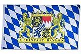 SCAMODA Bundes- und Länderflagge aus wetterfestem Material mit Metallösen (Freistaat Bayern) 150x90cm