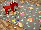 Snapstyle Kinder Spielteppich Eule Taupe Beige Karamell in 24 Größen