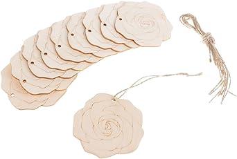 D DOLITY 10x Geschenkanhänger Holzscheiben Holzstücke Ornament mit Ostern Form Basteln Handwerk