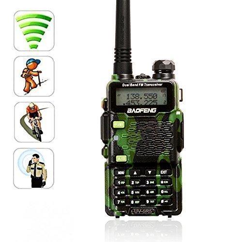 [Con la funcion de la linterna] AGPtek Baofeng UV-5R5 de doble banda UHF / VHF de radio walkie talkie 5W transmisor-receptor de radio con auricular en doble banda 136-174 / 400-470MHz (una sola pieza) (camuflaje)