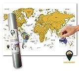 Global Walkabout Scratch Off Weltkarte mit Flaggen-Hintergrund – Deluxe Mini Reise-Größe Weltkarte Poster – Länder und Fakten – Reisegeschenk weiß