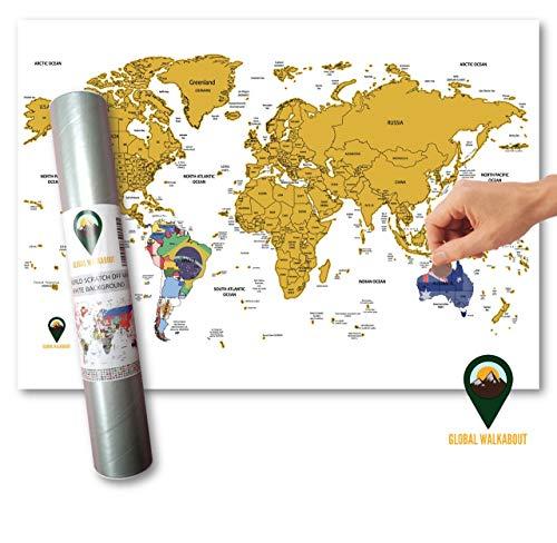 (Global Walkabout Scratch Off Weltkarte mit Flaggen-Hintergrund – Deluxe Mini Reise-Größe Weltkarte Poster – Länder und Fakten – Reisegeschenk weiß)