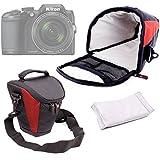 Housse de transport pour appareils photo Panasonic Lumix GF8 et DMC-FZ300, Nikon Coolpix B500 et B700 Bridge, Pentax K-1 SLR et leurs accessoires - rouge et noir + bandoulière BONUS DURAGADGET