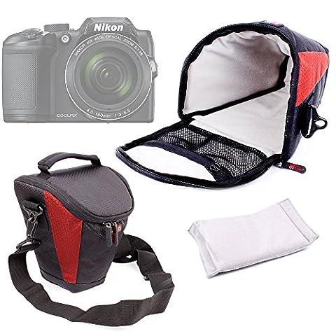 Housse de transport pour appareils photo Panasonic Lumix GF8 et DMC-FZ300, Nikon Coolpix B500 et B700 Bridge, Pentax K-1 SLR et leurs accessoires - rouge et noir + bandoulière BONUS