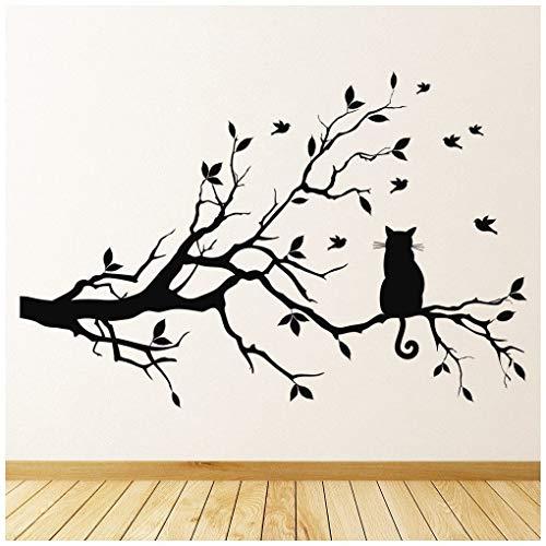 azutura Schwarze Katze Wandtattoo AST Wand Sticker Wohnzimmer Küche Wohnkultur verfügbar in 5 Größen und 25 Farben Groß Schwarz