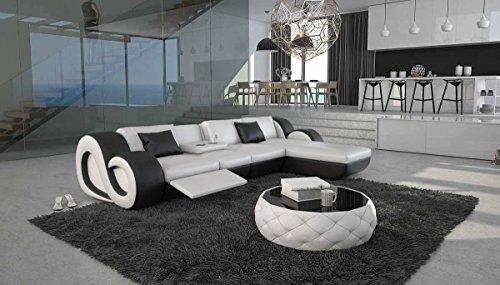 SalesFever Eck-Sofa mit Kunstleder Bezug weiß/schwarz 315x190 cm L-Form | Tane-L-Lux | Sofa-Garnitur mit Kunstleder Recamiere rechts | Polster-Couch für Wohnzimmer Weiss/schwarz 315 x 190cm -