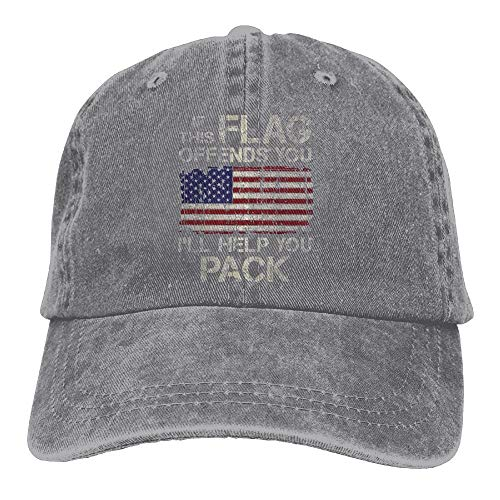 If This Flag Offends You, I'll Help You Pack Vintage Adjustable Baseball Caps Jeans Hat -