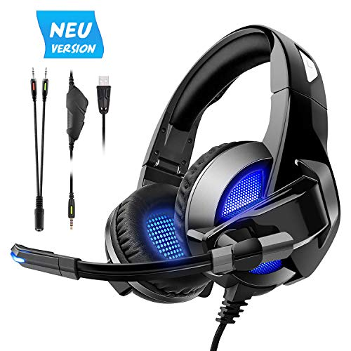 Pecosso Gaming Headset,PS4 X-Box Nintendo 3DS Gaming Kopfhörer für Laptop Mac Tablet One PC -3,5-mm-Buchsen Surround Sound Kabelgebundenes Gaming Kopfhörer mit Mikrofon -