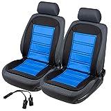 2x beheizbare Sitzauflage/Sitzheizung Warm Up 16591 schwarz/blau inkl. Doppelsteckdose für 12V Zigarettenanzünder