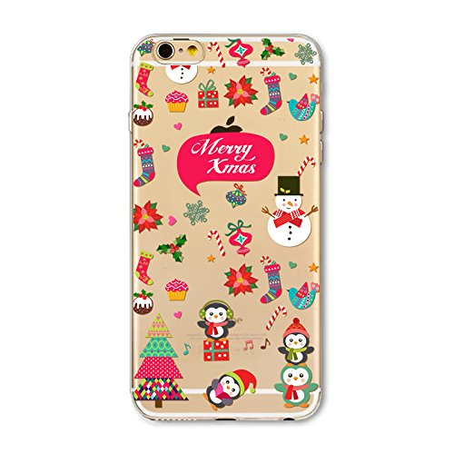 Christmas Hülle iPhone 7 / iPhone 8 LifeePro Weihnachts Cover Ultra dünn Weiches Transparent TPU Gel Silikon Handy Tasche Bumper Case Anti-Scratch Back Cover Full Body Schutzhülle für iPhone 7 / iPhon Merry Xmas 1