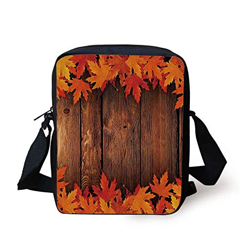 Fall,Dry Leaves Poured onto Wooden Board Cabin Cottage Rustic Country Life Theme Print Decorative,Brown Orange Print Kids Crossbody Messenger Bag Purse (Ipad-coach Fall)