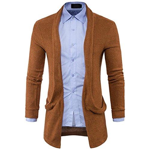 Hmeng Herren Mantel, Men Fashion Slim Fit mit Kapuze Stricken Pullover Fashion Cardigan Long Trench Tops Shirt Jacke (Kaffee, XL)