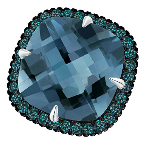 Angara.com - 14 Kt Weißgold Kissenschliff London Blue Topaz (Ring London In Blue Topas Weissgold)