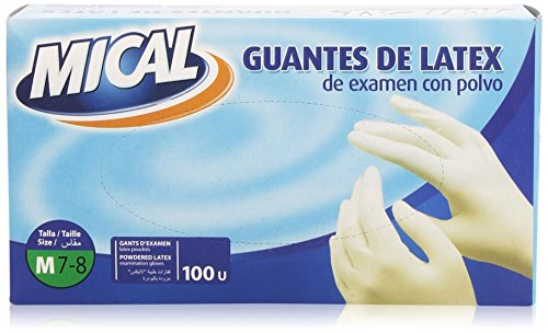 MICAL - Exam Latex Powdered Gloves - Size M/7 - 8