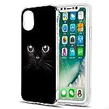 Eouine Coque iPhone XS, Coque iPhone X, Etui en Silicone 3D Transparente avec Motif Peinture [Anti Choc] Housse de Protection Coque pour Téléphone Apple iPhone XS/X - 5,8 Pouces (Chat Noir)
