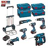 Kit Bosch PSL6P4M + Caddy (GWS 18 V-LI + GSR 18 V-EC + GOP 18 V-EC + GDS 18 V-EC 250 + GSR 18 V-EC TE + GBH 18 V-EC + Zubehör - GOP 18 V-EC + Ladegerät AL1860CV + 4 Akkus 5,0 Ah + 3 x Koffer L-Boxx 136 + Koffer L-Boxx 238 + CADDY)
