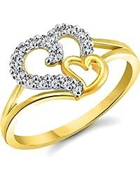 Vidhi Jewels Gold Plated Double Heart Diamond Studded Brass Finger Ring For Women [VFR332G]