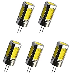 Aoxdi 5x G4 6W COB LED Spotlight, Cool White, LED COB Light Lamps Non-dimmable Equivalent Halogen Track Bulb Replacement G4 LED Bulbs, DC12V