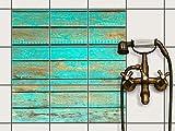 creatisto Dekor-Fliesen, Badfliesen | Fliesentattoo Küche Bad ergänzend zu Kühlschrankmagnet Wandtattoo | 20x20 cm Muster Ornament Wooden Aqua - 9 Stück