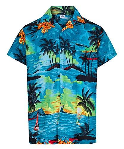 Redstar Fancy Dress - Herren Hawaiihemd - kurzärmelig - Aloha Summer - Verkleidung Junggesellenabschied - alle Größen - Blau - - Herr Herren Fancy Dress Kostüm