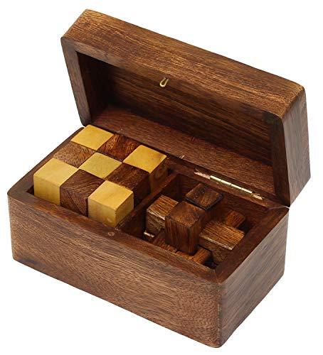 SKAVIJ Jeux de Puzzles Teaser de Cerveau en Bois Burr Puzzle et Cube de Serpent 2-in-1 Cadeau de Puzzle mis en Casse-tête Jouets éducatifs Faits à la Main pour Les Enfants et Les Adultes