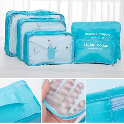 6 Sets Reiseveranstalter Taschen - 3 Verpackungswürfel, 3 Beutel - Reisegepäck Kompression Aufbewahrungsbeutel (Wein Rot)