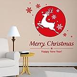 Magasin de location de ski de Noël le salon la chambre la fenêtre en verre décoration de Noël Stickers muraux amovibles...