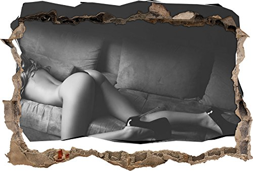femme magnifique avec les fesses sexy Art B & W percée de mur en 3D look, mur ou format vignette de la porte: 62x42cm, stickers muraux, sticker mural, décoration murale